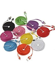 abordables -2M V8 Micro USB Noodle Data Cable for Samsung Galaxy S5/S4/S3/S2 and HTC/Nokia/Sony/LG (Assorted Colors)
