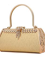 Women Bags Metal Evening Bag Crystal/ Rhinestone for Wedding Fuchsia Golden