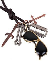 Vintage Sunglasses Pandent Hide Rope Men's Necklaces(1pc)