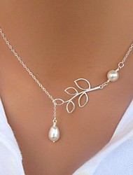cheap -Women's Pearl Lariat Pendant Necklace / Pearl Necklace - Pearl, Imitation Pearl Leaf Basic, Simple Style, Fashion Silver Necklace For Gift, Daily, Casual