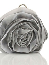 cheap -Women's Bags Silk Evening Bag Flower for Wedding Silver Beige Black Grey Pink Ivory