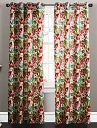 cheap -Rod Pocket Grommet Top Tab Top Two Panels Curtain Designer, Print Bedroom Polyester Material Curtains Drapes Home Decoration