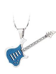 baratos -colar de guitarra de aço inoxidável (quatro cores) estilo feminino clássico