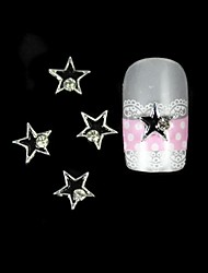 cheap -10pcs Black Star With Silver Line Alloy Nail Art Decoration