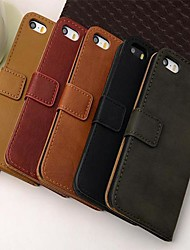 cheap -Wallet Style PU Leather Full Body Case with Stand and Card Slot for iPhone 5/5S
