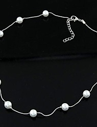 cheap -Women's Single Strand Personalized Fashion Pearl Necklace Jewelry Imitation Pearl Pearl Imitation Pearl Alloy Pearl Necklace , Daily
