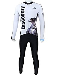 cheap -ILPALADINO Men's Long Sleeves Cycling Jersey with Tights - White Cartoon Animal Bike Clothing Suits, Thermal / Warm, Quick Dry, Fleece