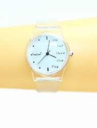 cheap -Women's  English Small Fresh And Simple Transparent Band Quartz Analog Wrist Watch Cool Watches Unique Watches Fashion Watch