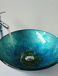 Недорогие -Современное закаленное стекло раковины ванной комнаты Set (Ванная раковина и смеситель)