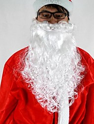 """16""""Long White Deluxe Curly Santa Claus Beard  Material PP"""