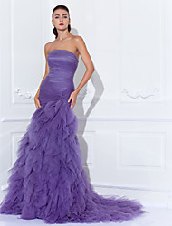 cheap -Mermaid / Trumpet Strapless Court Train Tulle Vintage Inspired Prom / Formal Evening Dress with Cascading Ruffles / Criss Cross / Ruched by TS Couture®