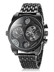 cheap -Oulm Men's Wrist watch Military Watch Quartz Japanese Quartz Dual Time Zones Stainless Steel Band Luxury Black Brown Bronze