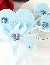 Baby Shower Party Tableware-4Piece/Set Cake Accessories Ribbons Fairytale Theme Blue