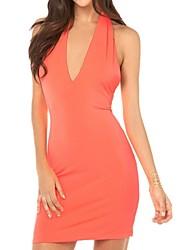 Недорогие -richcoco® женская сексуальная рукавов V шеи спинку платье