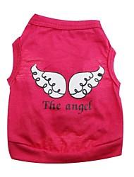 baratos -Gato Cachorro Camiseta Roupas para Cães Anjo e Diabo Roxo Rosa Verde Algodão Ocasiões Especiais Para animais de estimação