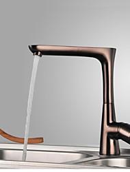 Moderna Bar / Prep Montagem em Plataforma Válvula Cerâmica Uma Abertura Monocomando e Uma Abertura for  Bronze Polido a Óleo , Torneira