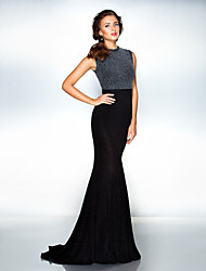 Mermaid / Trumpet Jewel Neck Sweep / Brush Train Jersey Formal Evening Dress with Pleats by TS Couture®