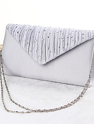 cheap -Women's Bags Silk Evening Bag Crystal/ Rhinestone for Event/Party All Seasons Black Silver Apricot