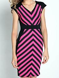 Недорогие -v шеи сексуальный полосой платье Dolce женщин