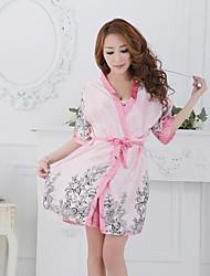 Robe de chambre Vêtement de nuit Femme Imprimé Dentelle Nylon Rose