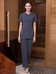 manga curta túnicas das mulheres v-pescoço