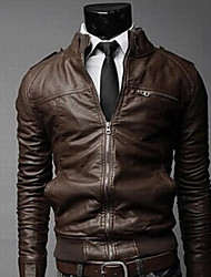 cheap -Men's Classic & Timeless Leather Jacket-Solid Color,Classic Style Pure Color