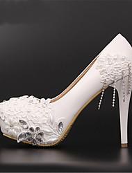 FemininoPlataforma-Salto Agulha Plataforma-Vermelho Branco-Courino-Casamento