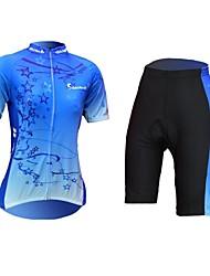 Dame Kortærmet Blå Cykel Tøjsæt, Hurtigtørrende, Ultraviolet Resistent