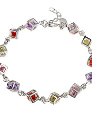 cheap -Women's Cubic Zirconia Tennis Bracelet - Sterling Silver, Zircon Unique Design, Fashion Bracelet Red / Yellow For Christmas Gifts Daily Casual