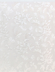 Graceful Country White Leaves Window Film - 0.5 × 5 m (1.64 × 16.4 ft)