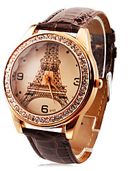 cheap -Personalized Fashionable Women's Watch Luxury Diamond Eiffel Tower PU Band