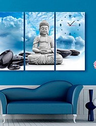 E-HOME® The Buddha And The Stones Clock in Canvas 3pcs