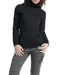 Frauen Tasten verschönert Baumwollmischung einfarbig Sweatshirt