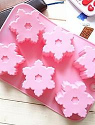Недорогие -6 отверстий снежинка форма формы торт лед желе формы шоколада, силиконовая 26,5 × 17 × 2,5 см (10,4 × 6,7 × 1,0 дюйма)