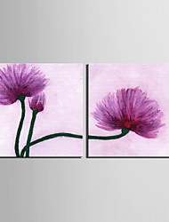 cheap -E-HOME® Stretched Canvas Art Purple Flowers Decorative Painting Set of 2