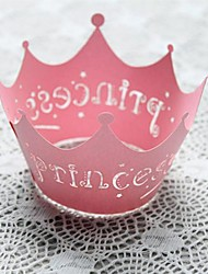 cheap -12pcs Pink Princess Laser Cut Lace Cupcake Wrappers Liners Muffin Cases Baby Shower Wedding Party Cake Decoartion