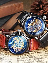 Herren Armbanduhr Mechanische Uhr Transparentes Ziffernblatt Automatikaufzug Leder Band Schwarz Braun