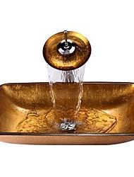 billige -Moderne Rektangulær sink Materiale er Hærdet Glas Badeværelse Håndvask Badeværelse Vandhane Badeværelse Monteringsring Badeværelse