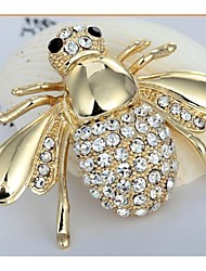 cheap -4.8*3.3 European Bee Alloy and Rhinetone Brooches (1pc)