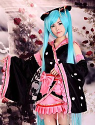 cheap -Inspired by Vocaloid Hatsune Miku Anime Cosplay Costumes Cosplay Suits Kimono Patchwork Long Sleeves Skirt Headpiece Sleeves Belt Bow