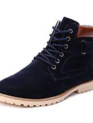 cheap -Men's Fall Winter Fleece Casual Work & Safety Flat Heel Lace-up Black Blue Brown