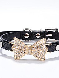 Cat / Dog Collar Rhinestone Red / Black / Blue / Pink / Gold / Silver / Rose PU Leather