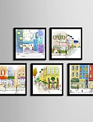 cheap -Framed Canvas / Framed Set - Architecture PVC Illustration