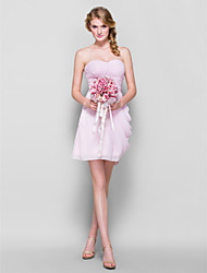 cheap -Sheath / Column Sweetheart Neckline Short / Mini Chiffon Bridesmaid Dress with Side Draping / Criss Cross / Ruched by LAN TING BRIDE®