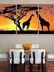 abordables -e-FOYER la girafe et l'horloge de l'arbre dans 3pcs toile