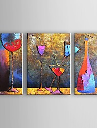 Hand-Painted Abstract Horizontal,Modern Traditional Three Panels Canvas Oil Painting For Home Decoration