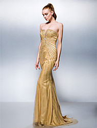 cheap -Mermaid / Trumpet Strapless Sweep / Brush Train Tulle Stretch Satin Formal Evening Dress with Beading by TS Couture®