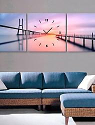 economico -E-HOME® The River And The Bridge Clock in Canvas 3pcs