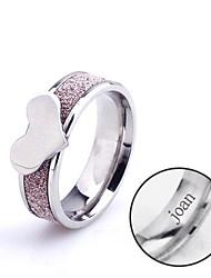 presente personalizado do anel em forma de coração de aço inoxidável jóias gravado