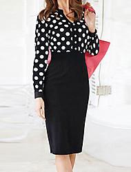 Недорогие -Монта женщин новые европейские старинные V шеи точки длинным рукавом платье